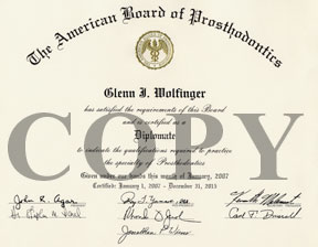 Dr. Glenn Wolfinger's Certificate of Board Certification