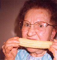 Patient eating corn on cob