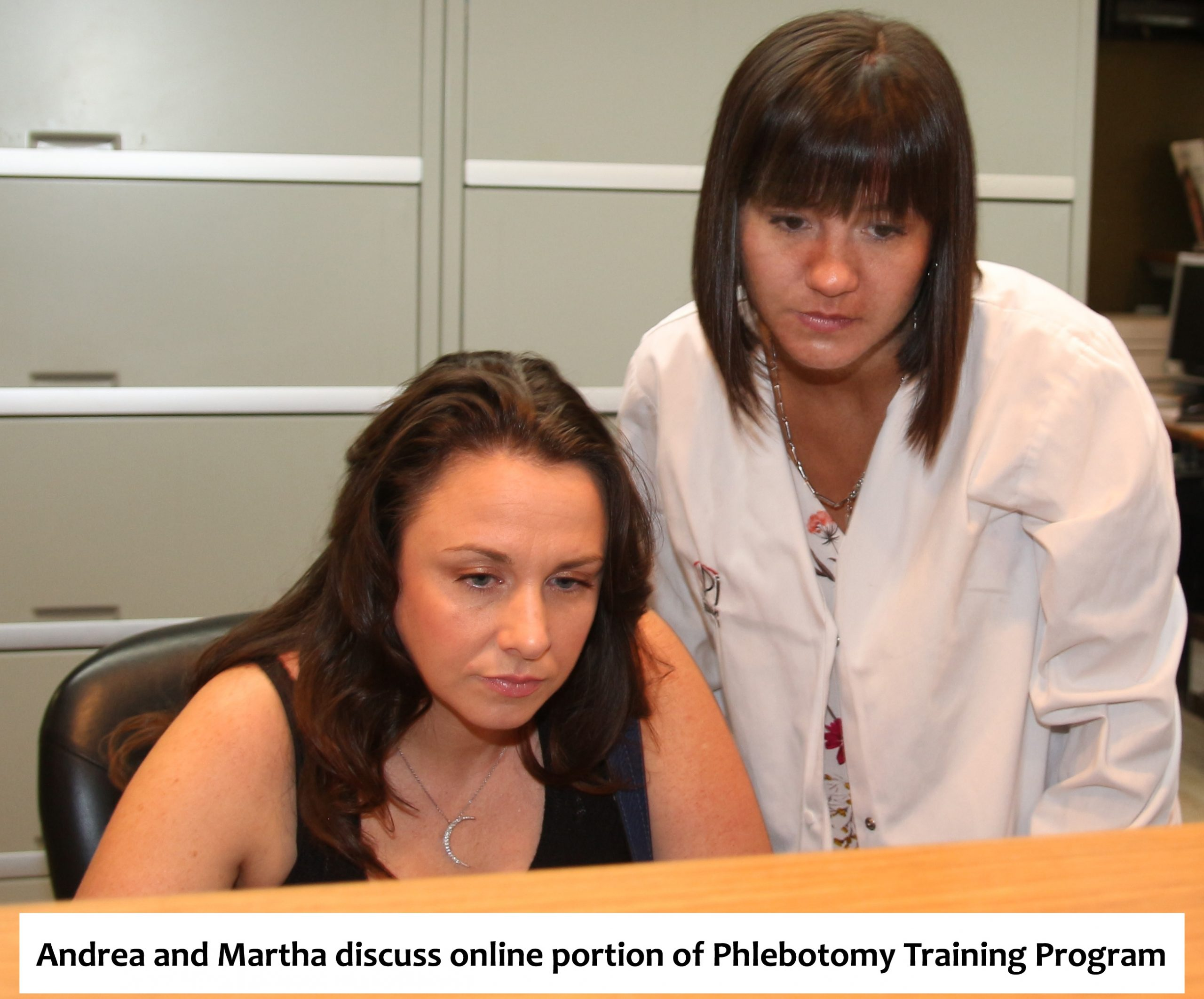 Andrea and Martha discuss the online portion of the phlebotomy training program.